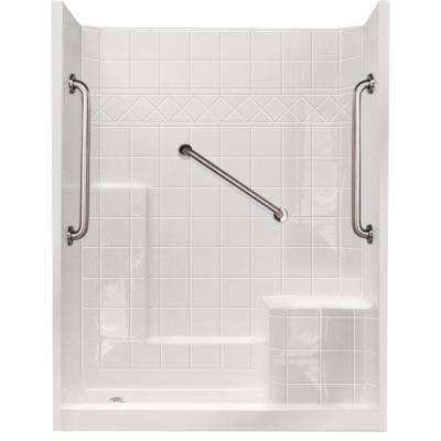 32 In X 60 77 Standard Plus 24 Low Threshold 3 Piece Shower Kit White With Right Seat And Left Drain