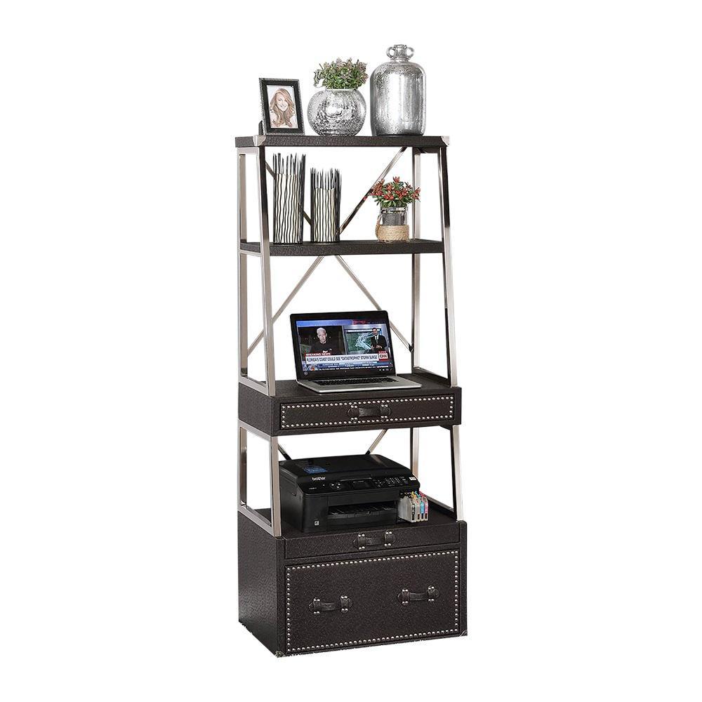 Melrose Faux Black Ostrich Caddie Desk
