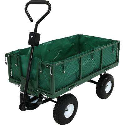 Green Heavy-Duty Dumping Utility Cart with Folding Sides and Liner Set