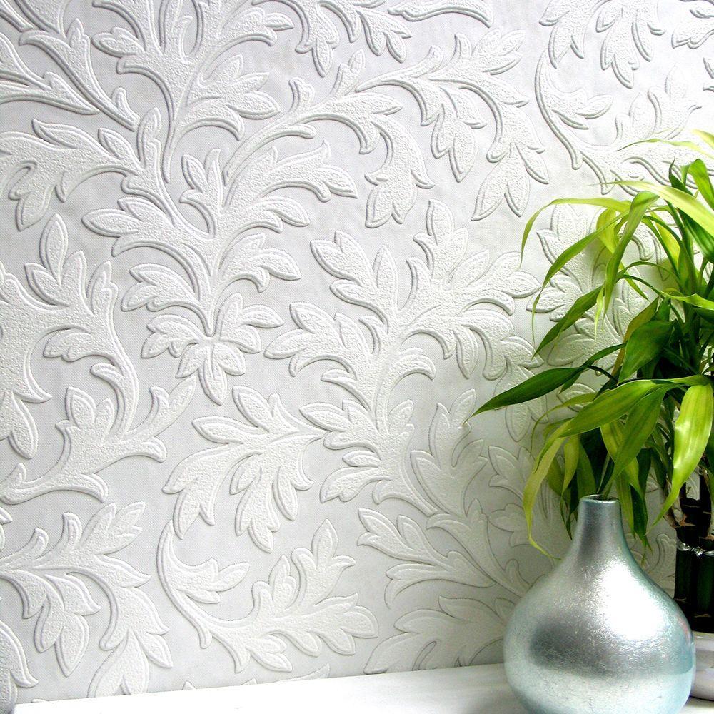 High Leaf Paintable Textured Vinyl Wallpaper Sample