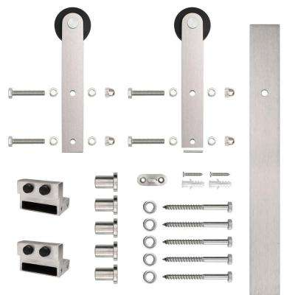 Stainless Steel Flat Rail Stick Strap Rolling Door Hardware for Wood Door