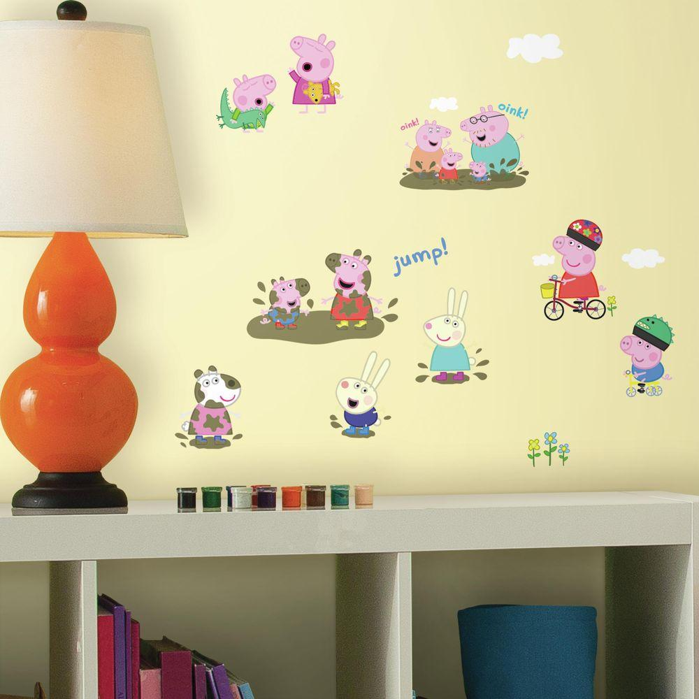 RoomMates 5 in. W x 11.5 in. H Peppa the Pig 28-Piece Peel and Stick ...