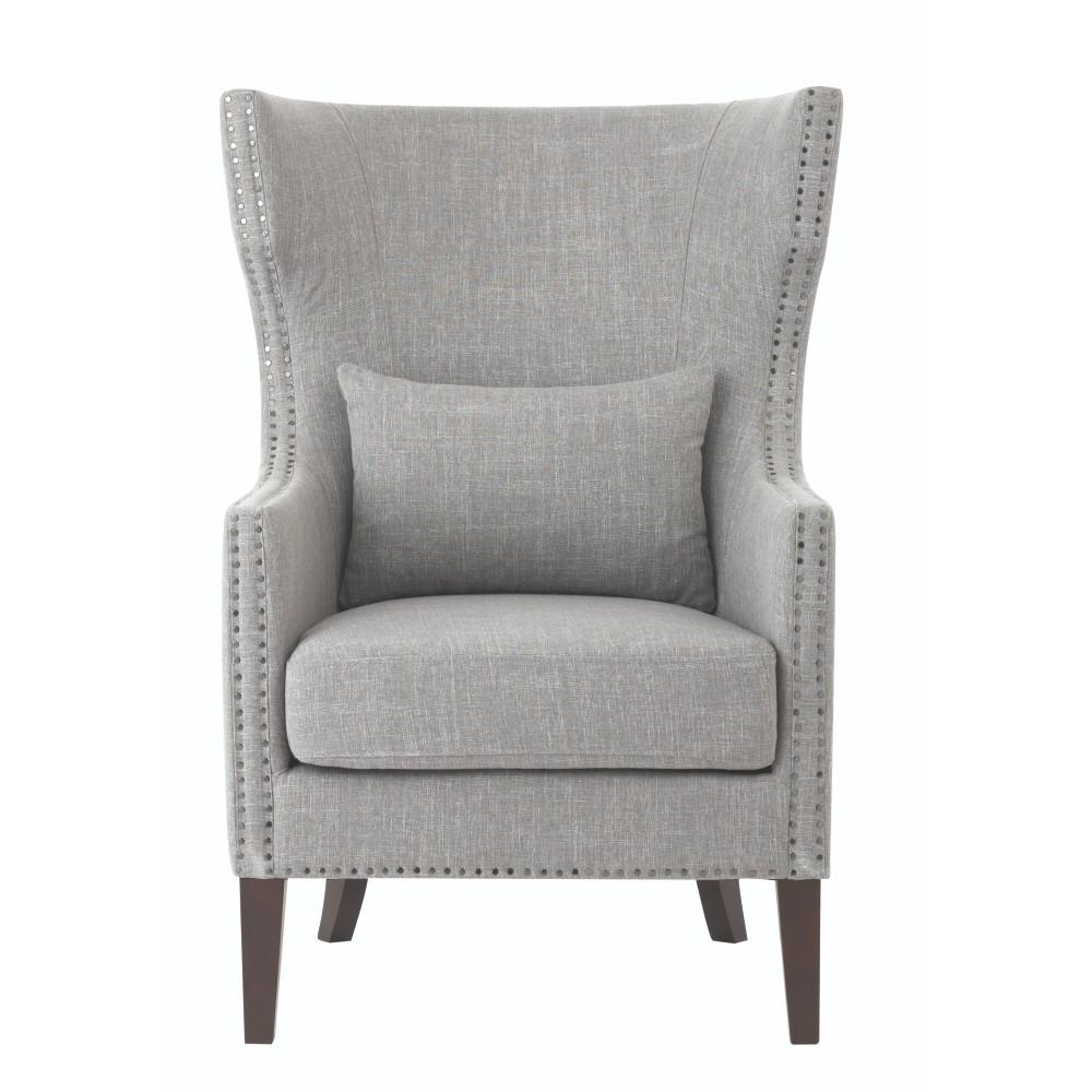 Home Decorators Collection Bentley Smoke Grey Linen Upholstered Arm Chair