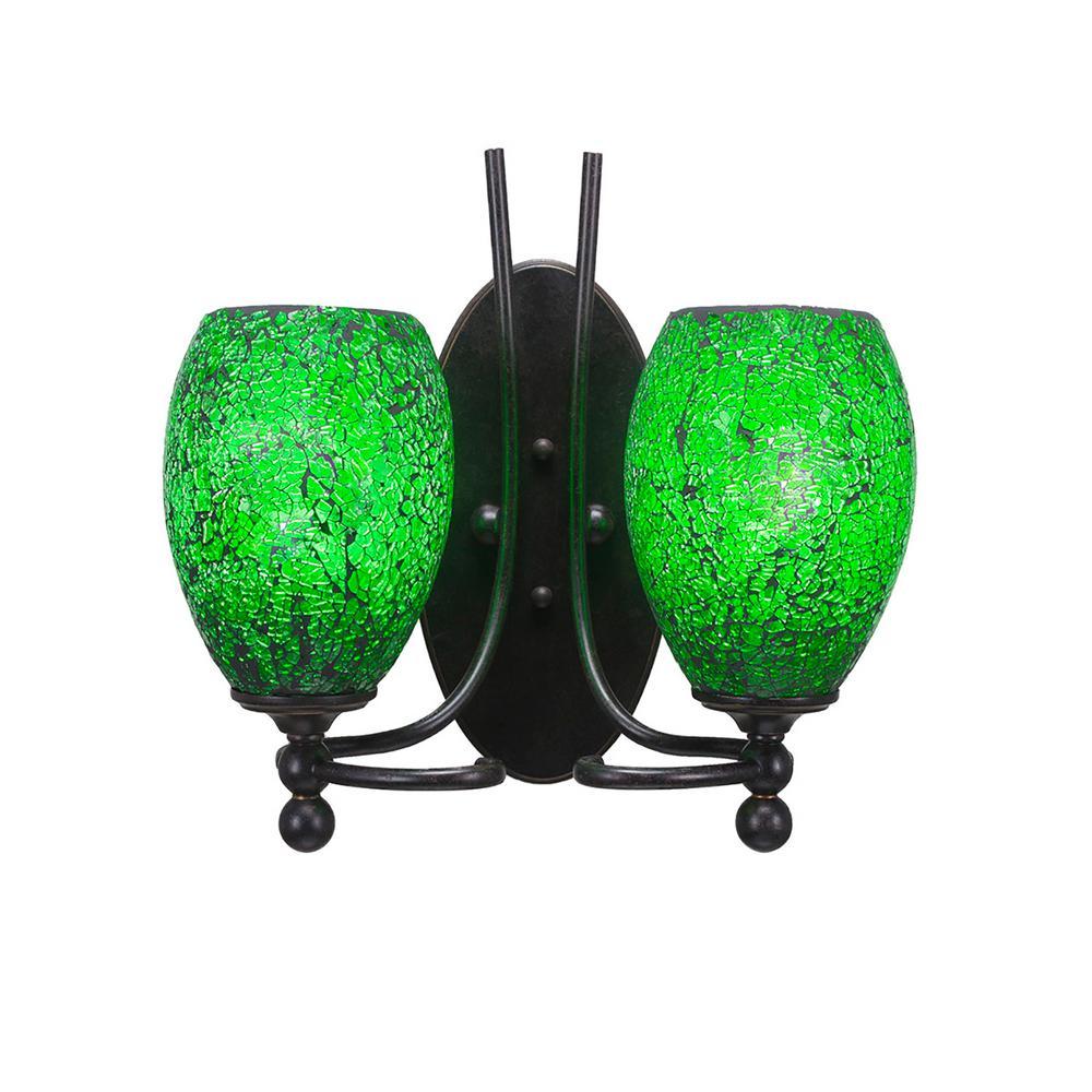 Cambridge 2-Light Dark Granite Sconce with Green Ribbed Glass-CLI ...