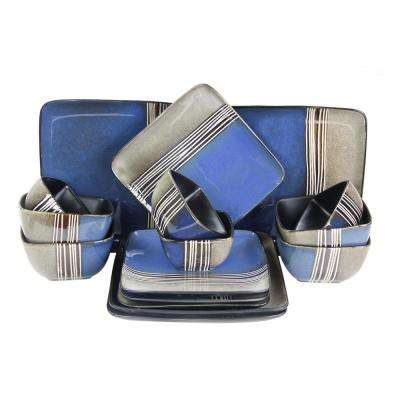 Uptown Loft 16-Piece Blue Double Bowl Dinnerware Set
