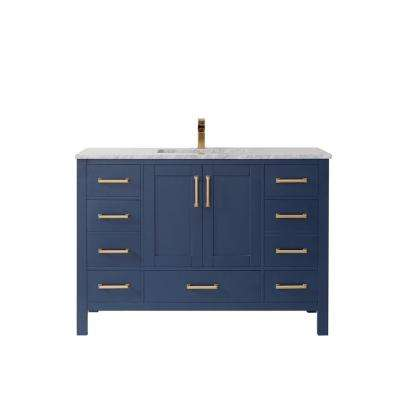 Shannon 48 in. Bath Vanity in Blue with Carrara Marble Vanity Top in White with White Basin
