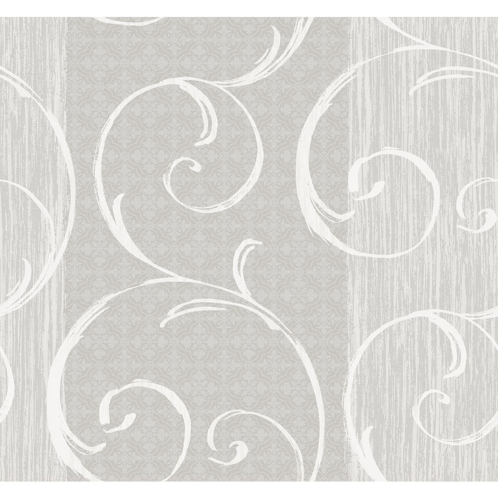 Notting Hill Metallic Silver and White Swirl Wallpaper