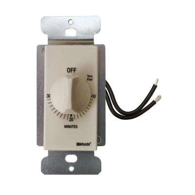 20-Amp 30-Minute In-Wall Spring Wound Countdown Timer Switch, Almond