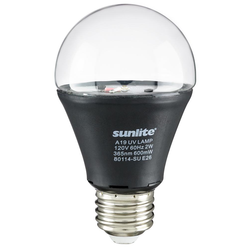 2-Watt A19 E26 Medium Base Glow Party Decorative LED Black Light Bulb