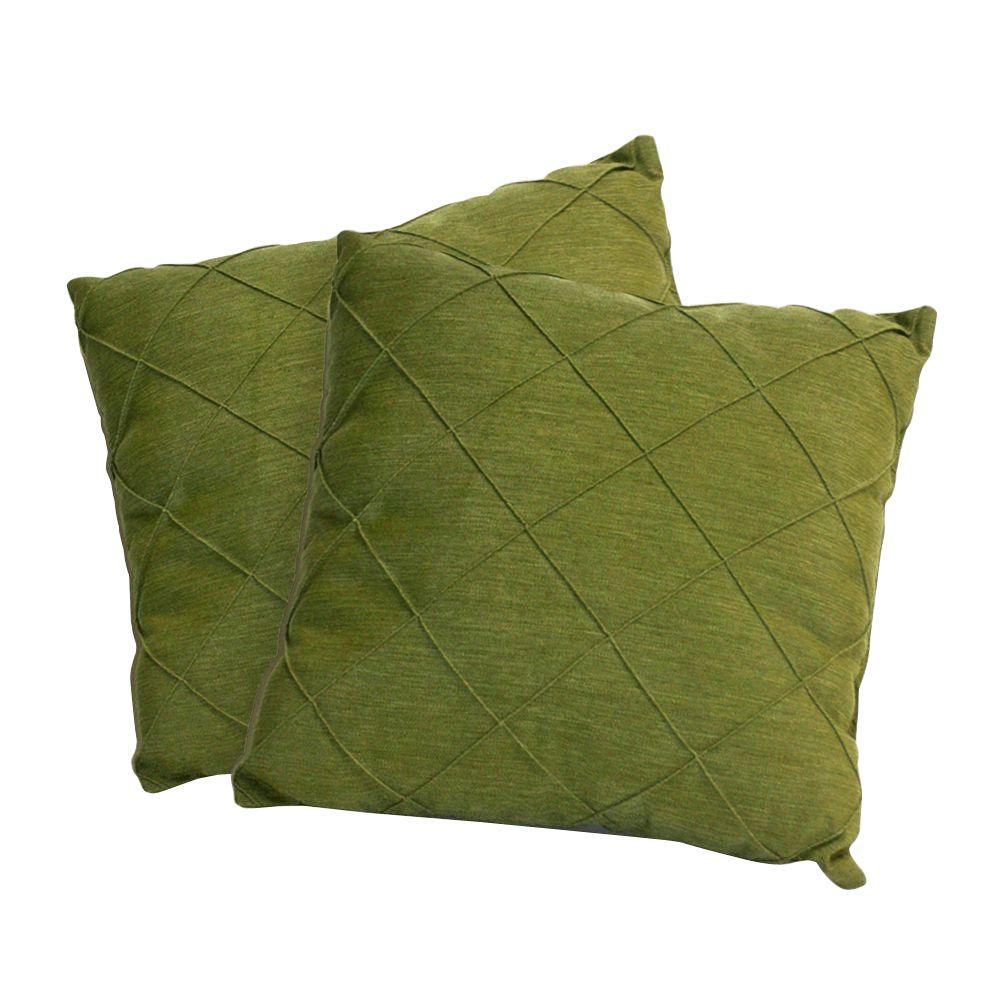 Peak Season Green Quilted Square Outdoor Throw Pillow (2-Pack)