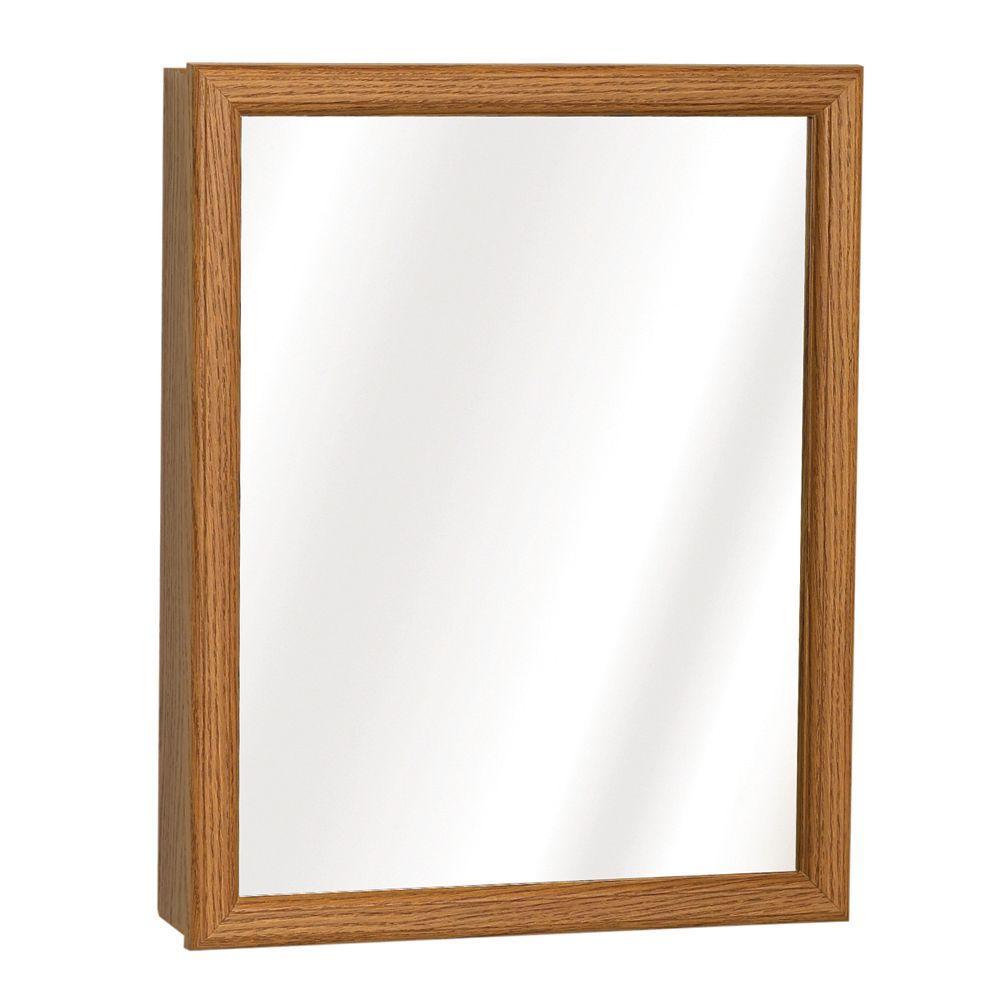 15 in. W x 19 in. H Surface-Mount Swing-Door Mirrored Medicine Cabinet in Oak
