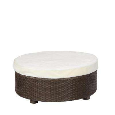 Torquay Custom Wicker Outdoor Ottoman with Cushion Insert (Slipcovers Sold Separately)