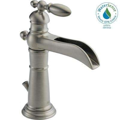 Victorian Single Hole Single-Handle Open Channel Spout Bathroom Faucet with Metal Drain Assembly in Stainless
