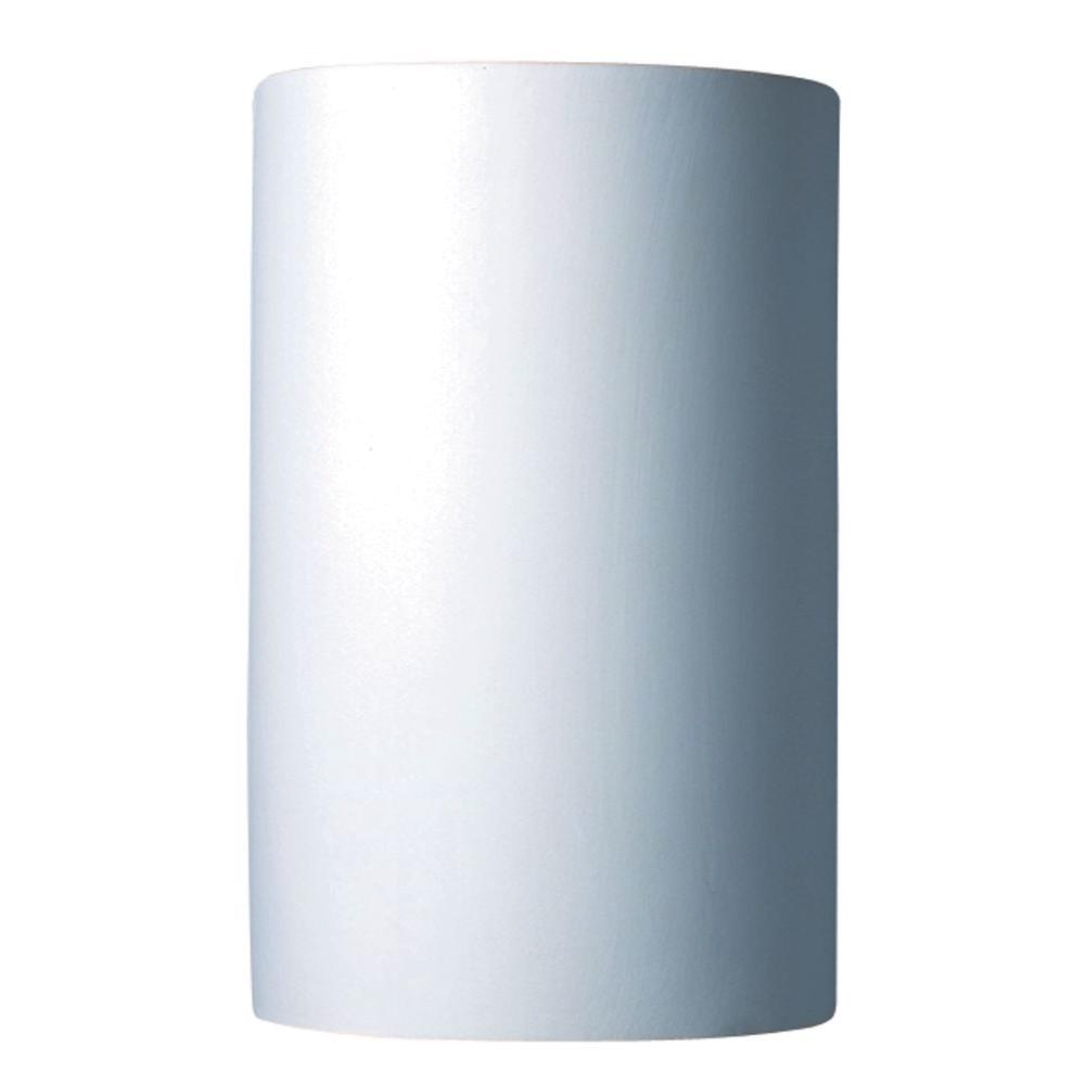 Leonidas 1-Light Paintable Ceramic Bisque Large Cylinder Open Top and Bottom