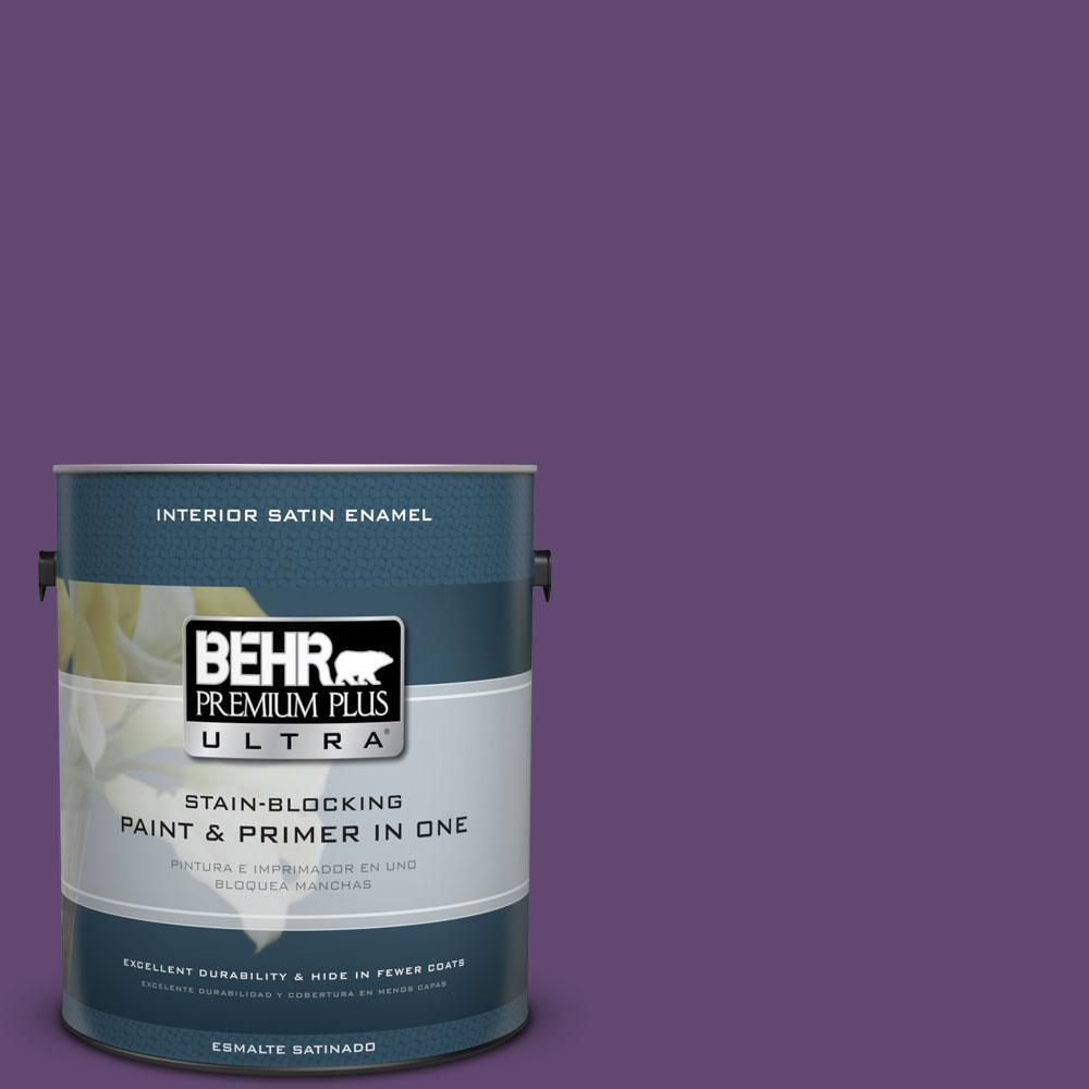 BEHR Premium Plus Ultra 1-gal. #S-G-670 Deep Violet Satin Enamel Interior Paint