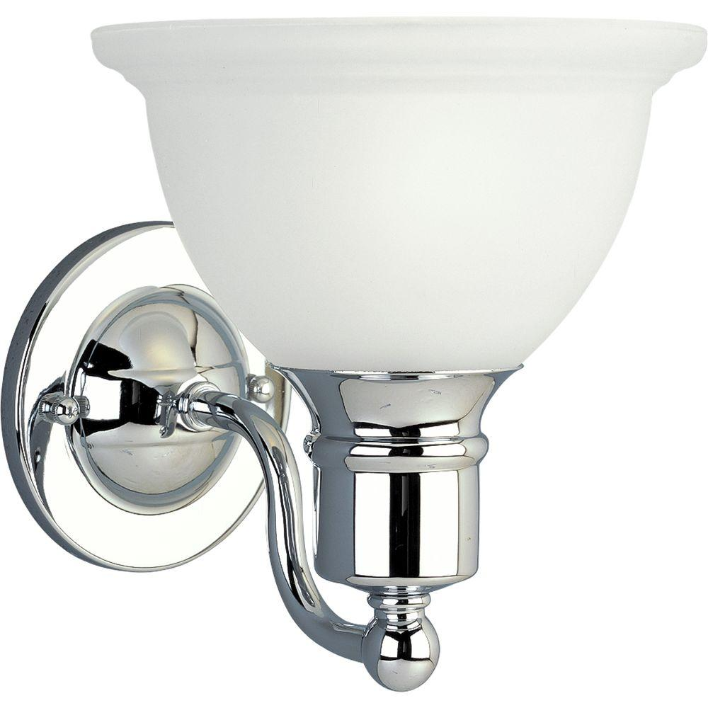 Progress Lighting Madison Collection 1 Light Polished Chrome Bath Sconce With Etched Glass Shade