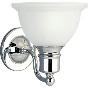 Madison Collection 1 Light Polished Chrome Bath Sconce With Etched Glass Shade Progress Lighting