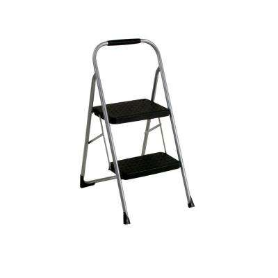 2-Step Steel Big Step Stool Ladder with 200 lb. Load Capacity, Large Front Feet and Grip