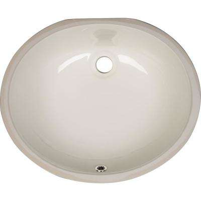 Undermount Porcelain Ceramic Bathroom Sink in Bisque Oval