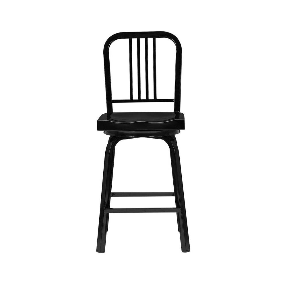 StyleWell StyleWell Kipling Black Metal Swivel Counter Stool with Back (17.32 in. W x 40.55 in. H)