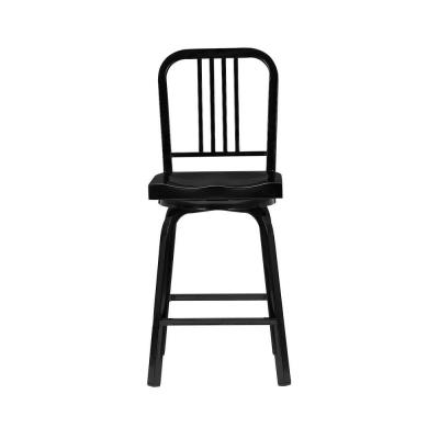 Kipling Black Metal Swivel Counter Stool with Back (17.32 in. W x 40.55 in. H)