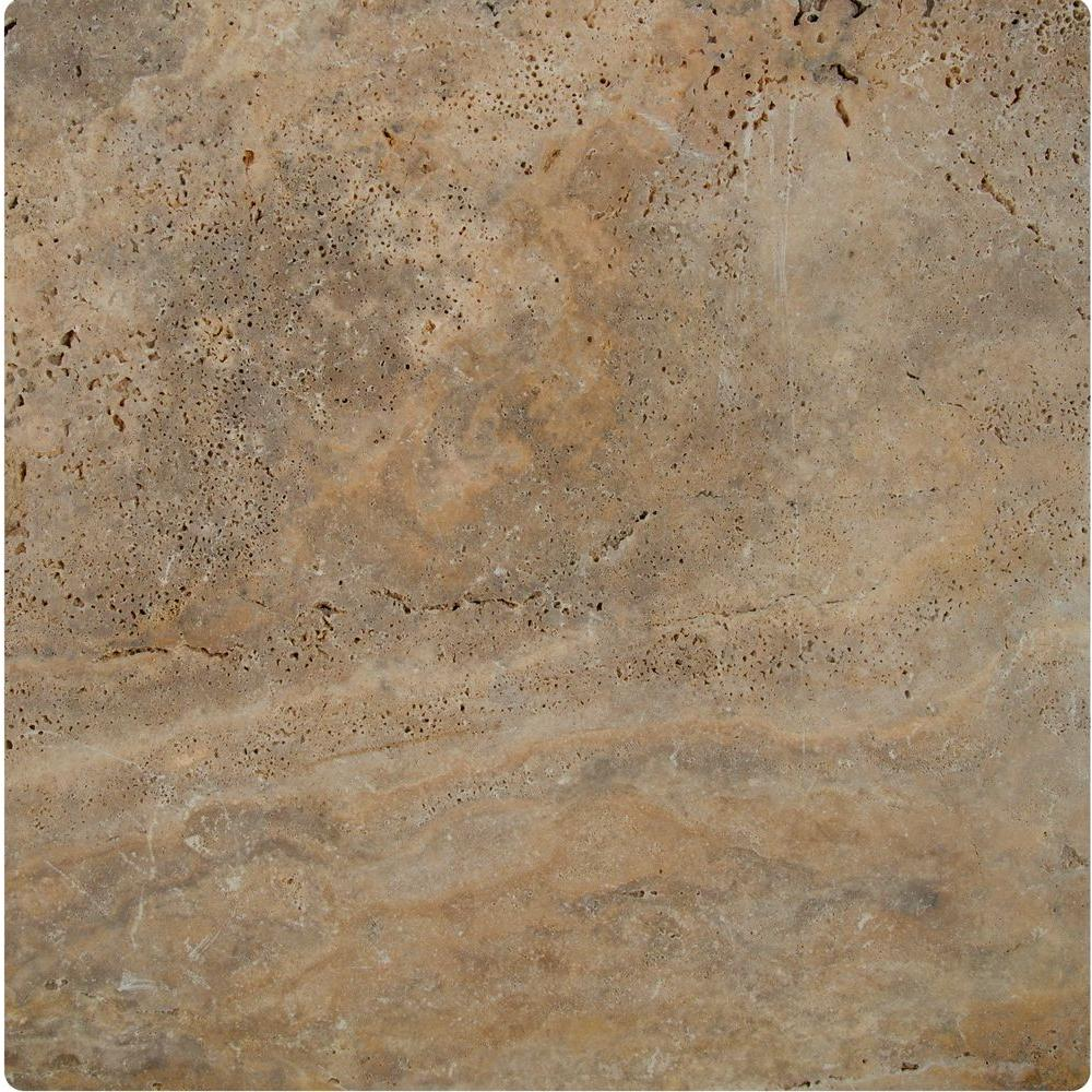 Porcini 16 in. x 16 in. Tumbled Travertine Paver Tile (20