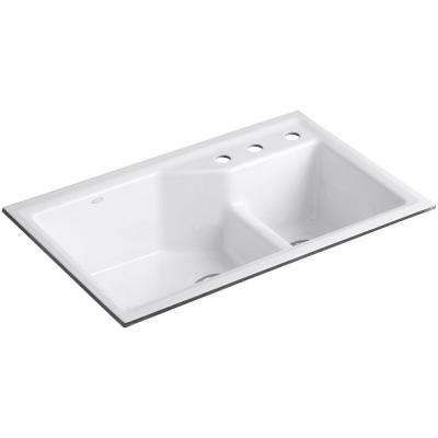 Indio Smart Divide Undermount Cast Iron 33 in. 3-Hole Double Bowl Kitchen Sink Kit in White