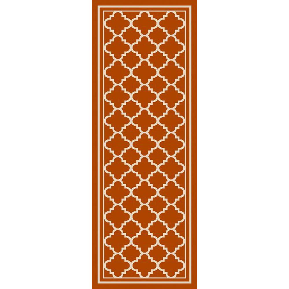 Ianjica Rust 3 ft. x 7 ft. Indoor/Outdoor Runner Rug