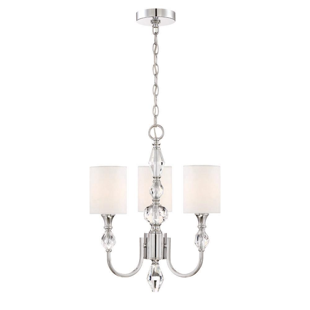 Evi 3-Light Chrome Chandelier with White Linen Clear Faceted Crystal Shade