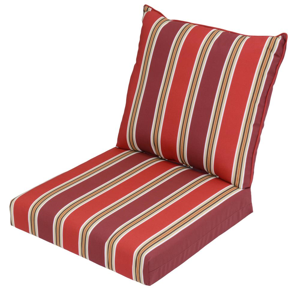 Chili Stripe 2-Piece Deep Seating Outdoor Lounge Chair Cushion