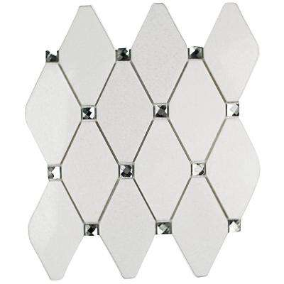 Mirage Lozenge Thassos Marble and Glass Wall Mosaic Tile - 3 in. x 6 in. Tile Sample