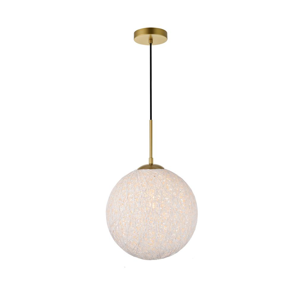 Timeless Home Malaki 1-Light Pendant in Brass and White with 11.8 in. W x 11.8 in. H Shade