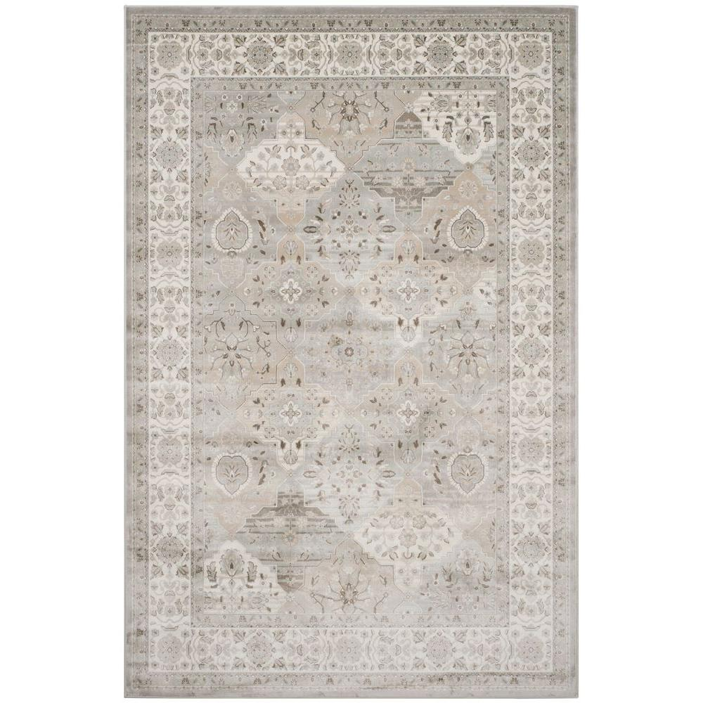 Safavieh Persian Garden Silver Ivory 6 Ft 7 In X 9 2 Area Rug Peg609w The Home Depot