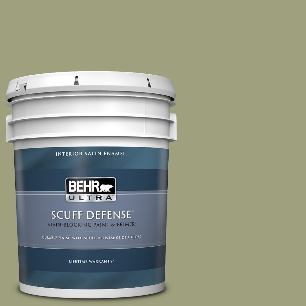Behr Ultra 5 Gal Bic 57 French Parsley Extra Durable Satin Enamel Interior Paint And Primer In One 775405 The Home Depot
