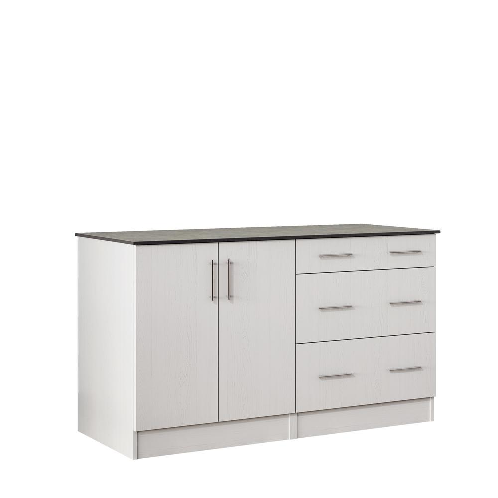 Miami 59.5 in. Outdoor Cabinets with Countertop 2 Full Height Doors