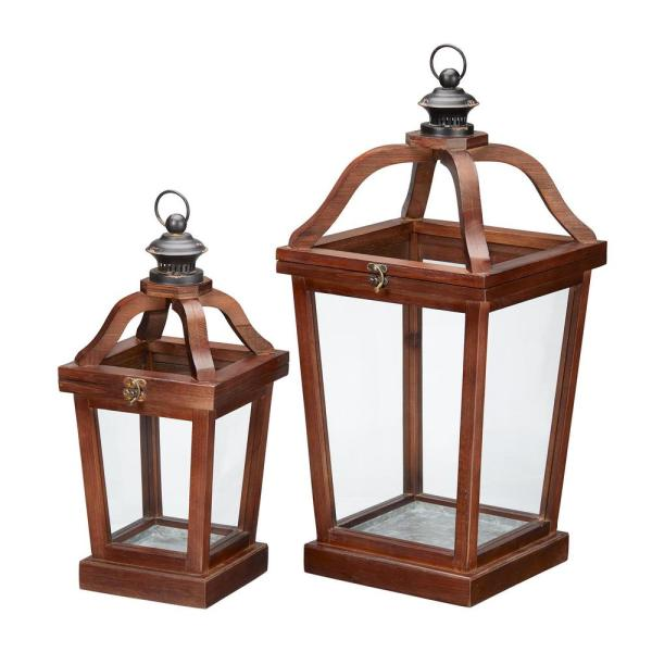 Home Decorators Collection Dark Wood Candle Hanging or Tabletop Lantern (Set of 2)