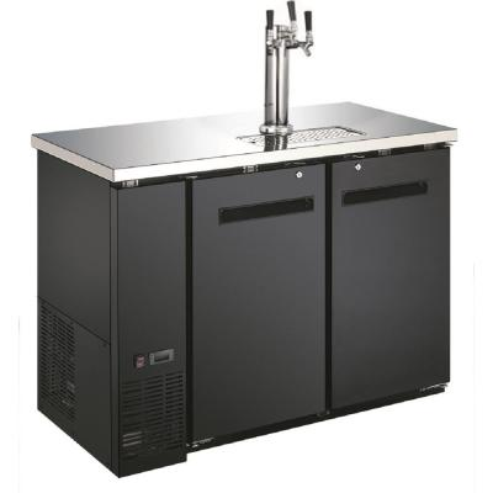 Single Tower Three Taps Two Half Barrel Beer Keg Dispenser Refrigerator