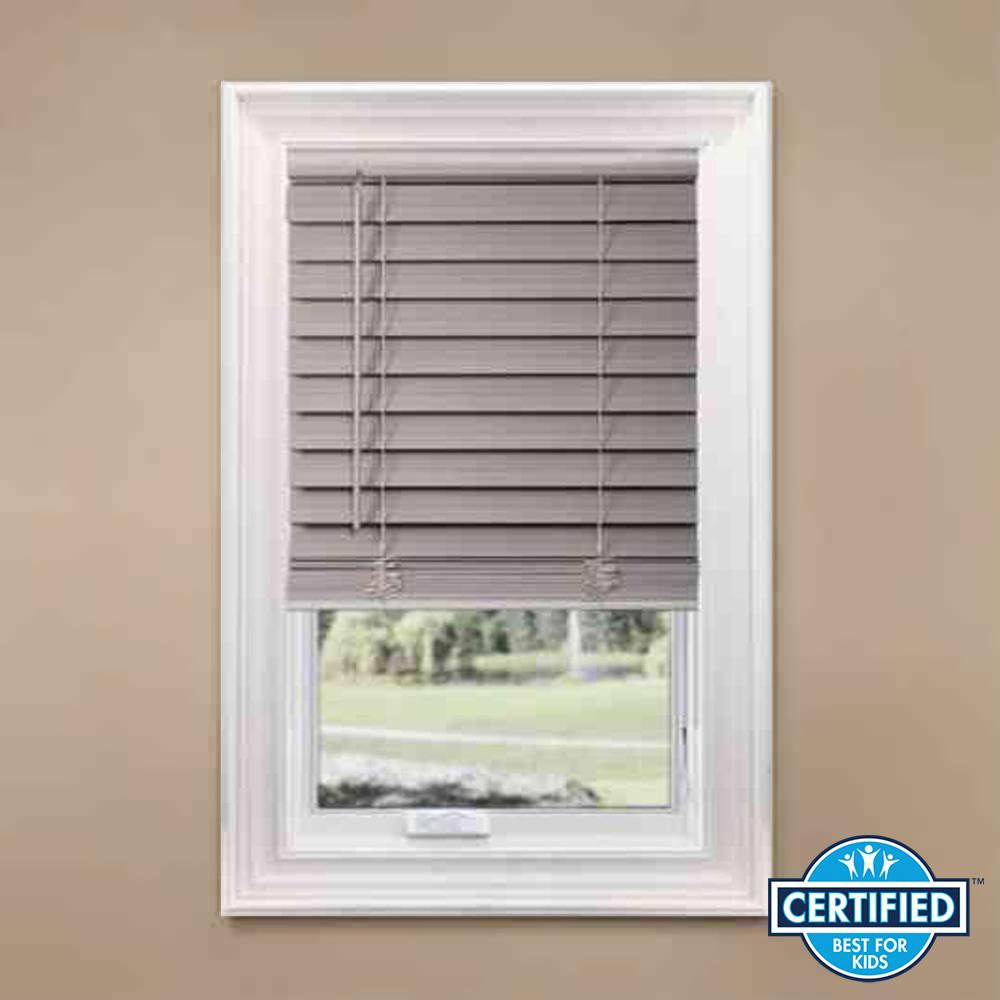 Home Decorators Collection Gray Cordless 2 1 In Premium Faux Wood Blind 27 W X 64 L Actual Size 26 5 10793478362318 The Depot