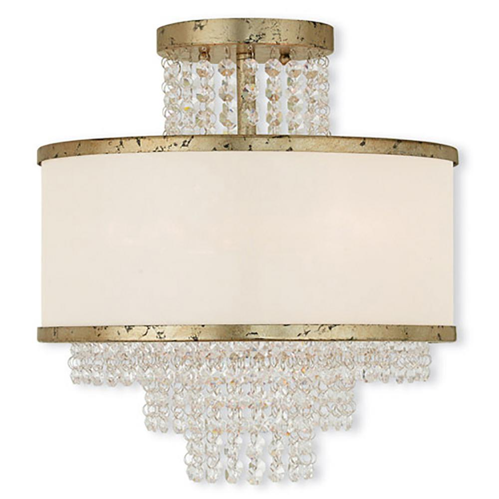 Livex Lighting Prescott 3 Light Winter Gold Flushmount