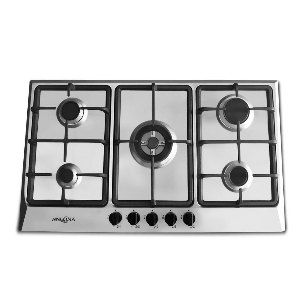 34 in. Gas Cooktop in Stainless Steel with 5 Burners including