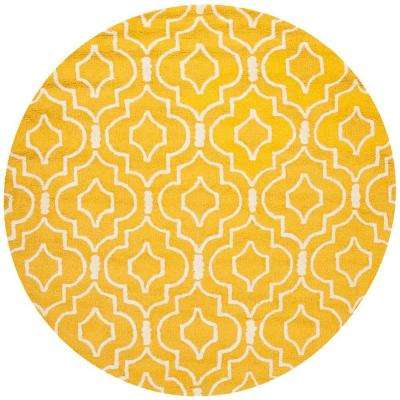 Cambridge Gold/Ivory 6 ft. x 6 ft. Round Area Rug