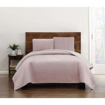 Everyday Velvet Pick Stitch Quilt Sets Blush Full/Queen Quilt Set