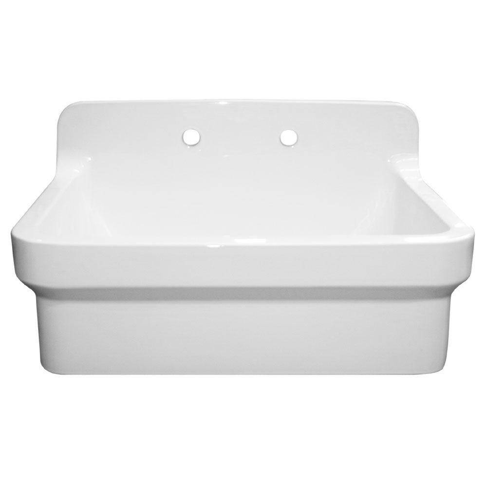 Countryhaus Farmhaus Apron Front Fireclay 30 In. 2 Hole Single Bowl Kitchen  Sink In