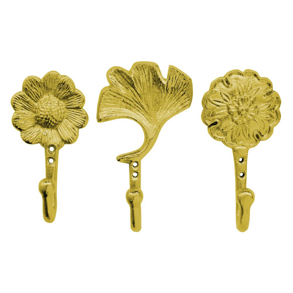 THREE HANDS 6.5 in. Wall Hooks in Gold (Set of 3)-46832 - The Home Depot