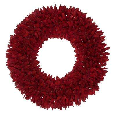 22 in. Red Glitter Shaved Wood Wreath