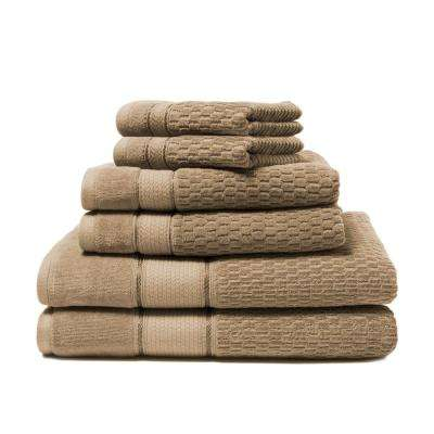 Royale 6-Piece 100% Turkish Cotton Bath Towel Set in Stucco
