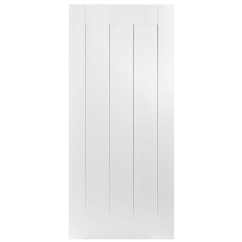Masonite 32 in. x 80 in. Saddlebrook 1-Panel Plank Right-Handed Hollow-Core Smooth Primed Composite Single Prehung Interior Door