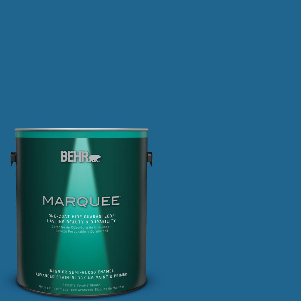 1 gal. #MQ5-57 Traditional Blue One-Coat Hide Semi-Gloss Enamel Interior Paint