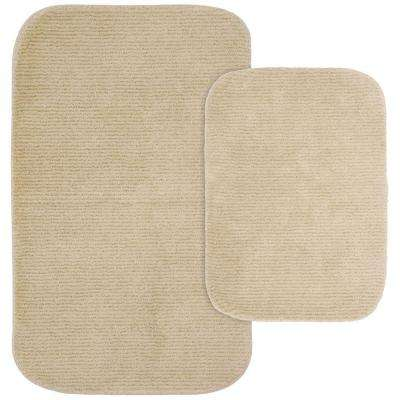 Glamor Linen 21 in. x 34 in. Washable Bathroom 2-Piece Rug Set