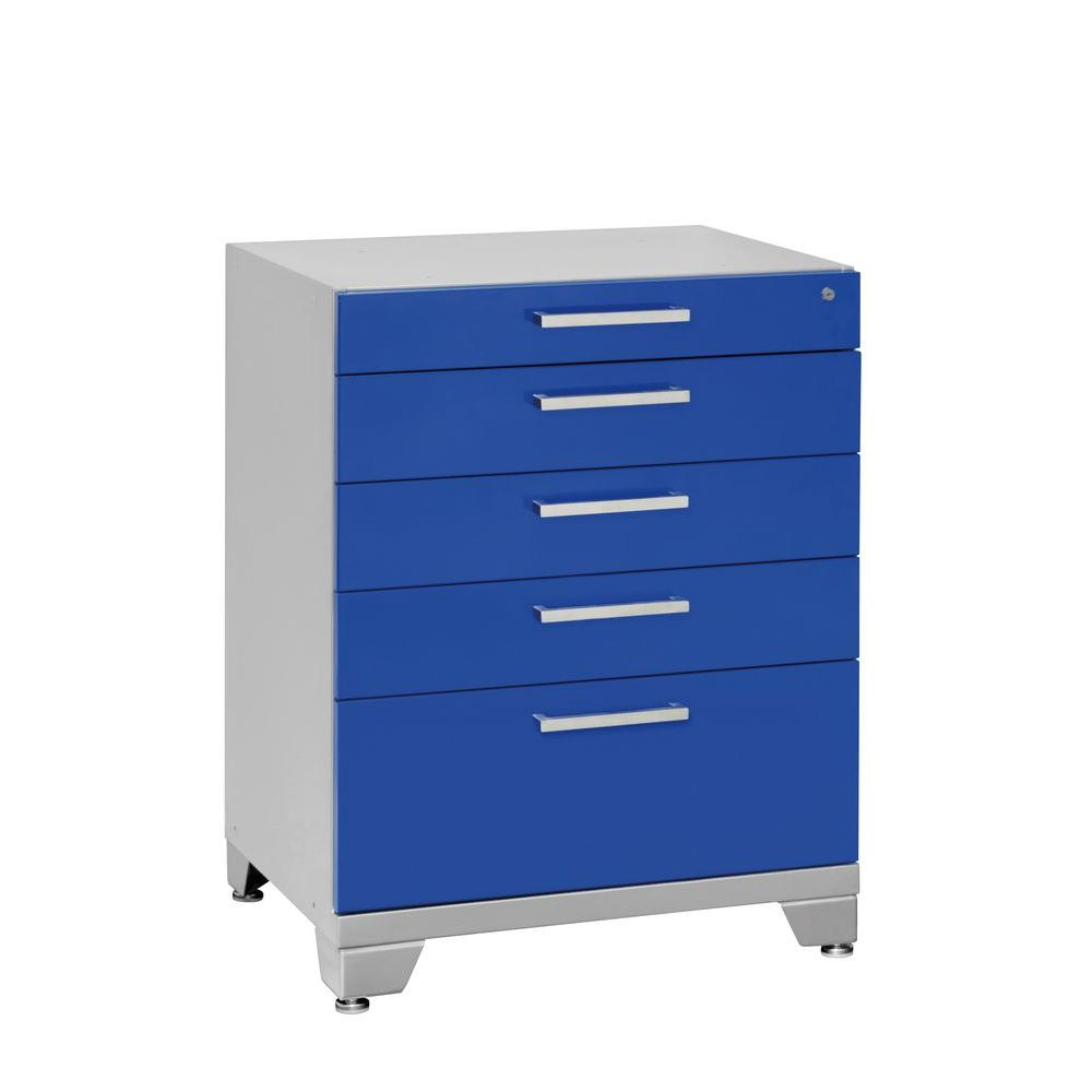 NewAge Products Performance Plus 35 in. H x 28 in. W x 22 in. D 5-Drawer Steel Garage Cabinet for Tools in Blue